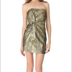Haute Hippie Gold Foil Strapless Mini Dress